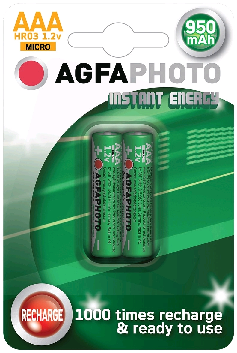 AgfaPhoto Direct Energy Rechargeable Micro AAA 950mAh B2